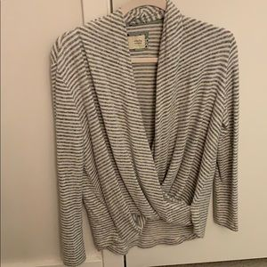 Anthropologie Front Wrap Gray Striped Sweater XSP